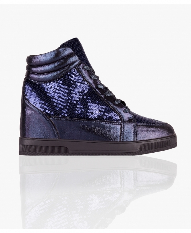 KRISP Sequin High Top Wedge Trainers