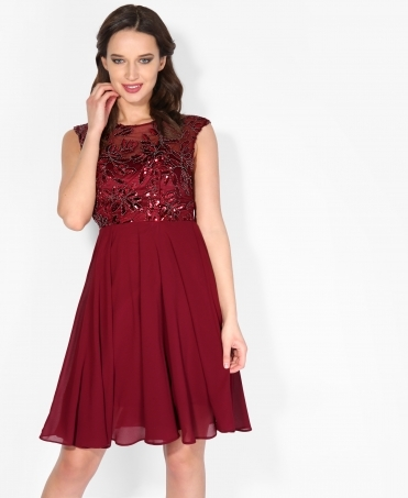 Sequin Leaf Chiffon Midi Dress