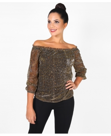 Sequin Mesh Bardot Top