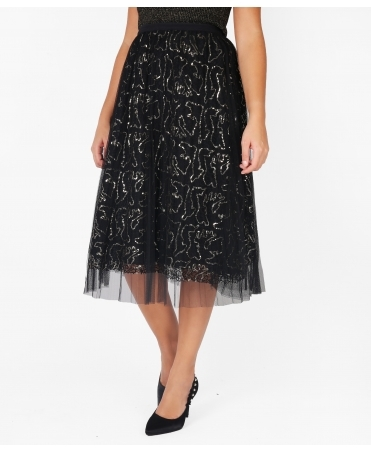 Sequin Net Tulle Midi Skirt