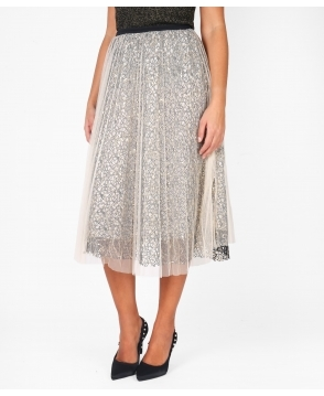 KRISP Sequin Net Tulle Midi Skirt