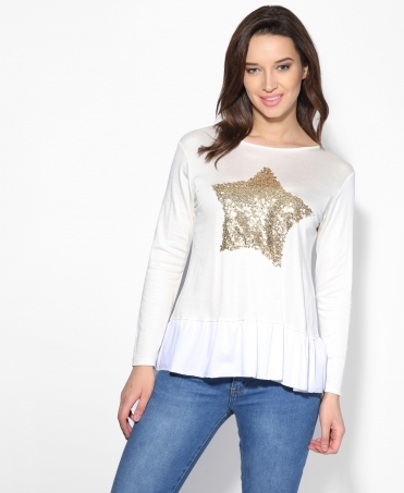 Sequin Star Frill Hem Jumper