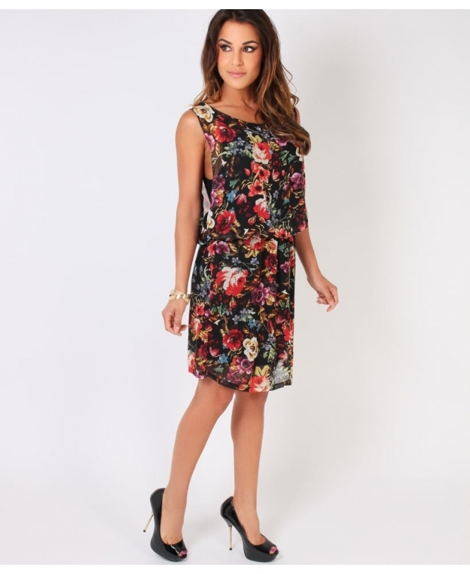 8a57debbff Krisp Shirred Waist Floral Chiffon Dress