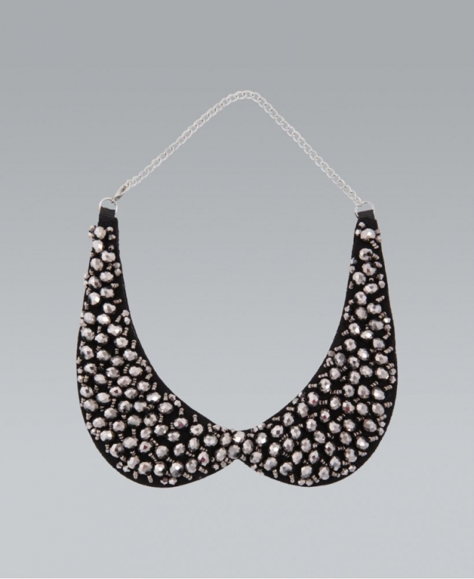 Krisp Silver Beaded Peter Pan Collar Necklace Accessories From