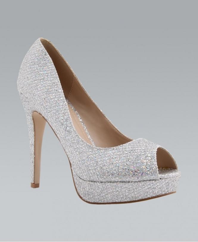 8b184bffaf7 KRISP Silver Glitter Snake Skin Platform High Heel Peep Toes - Shoes ...