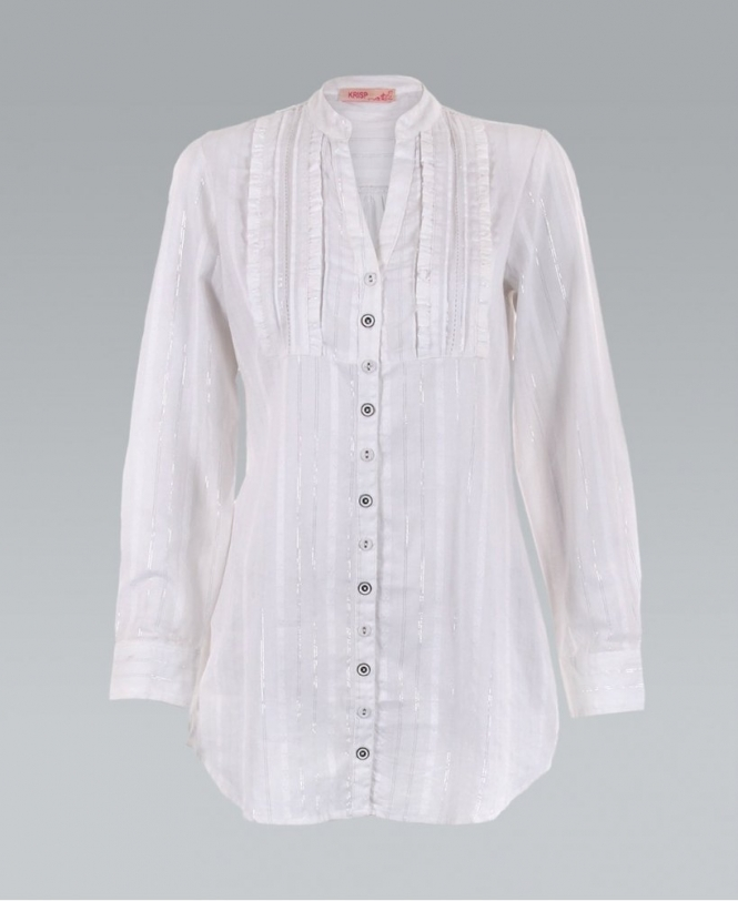 5cb81ade8a4 KRISP Silver Lurex Button Down White Longline Shirt