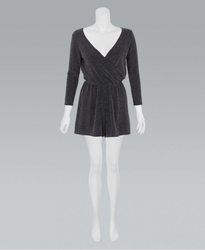 16056d4add KRISP Silver Lurex Wrap Front Playsuit - New In from Krisp Clothing UK
