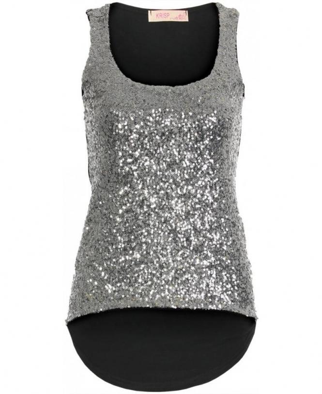 0f53c0c8 KRISP Silver Sequin Black Asymmetric Vest Top - Womens from Krisp ...