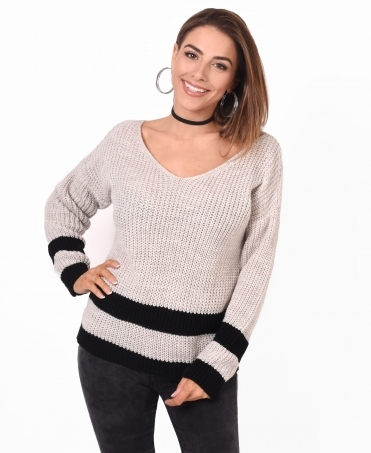 Slashed Back Chunky Knit Jumper