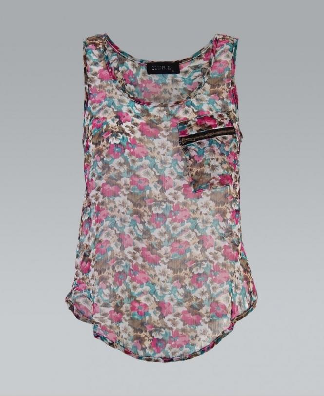 31035c81ab44 KRISP Sleeveless Floral Print Chiffon Vest Top - Womens from Krisp ...