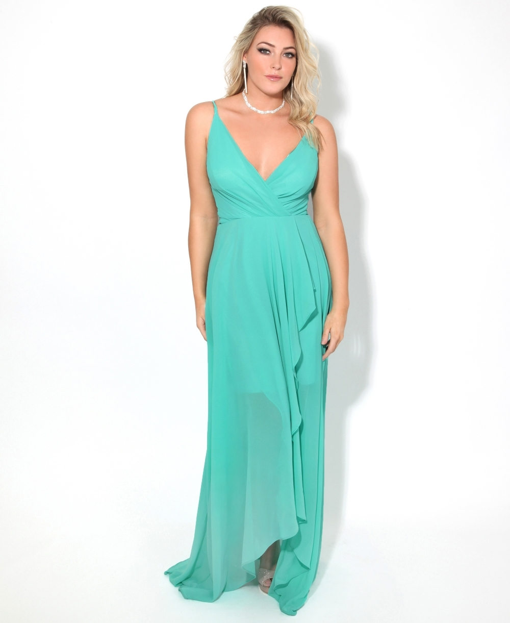 8b80af38fe0 KRISP Slit Front Asymmetrical Maxi Dress