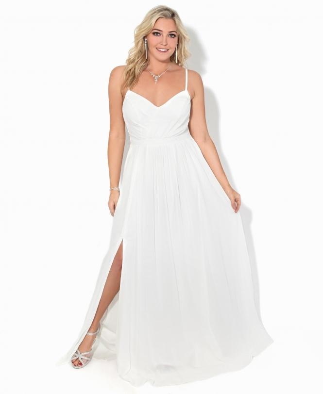 4481160f3e7b3 Slit Front Chiffon Maxi Dress