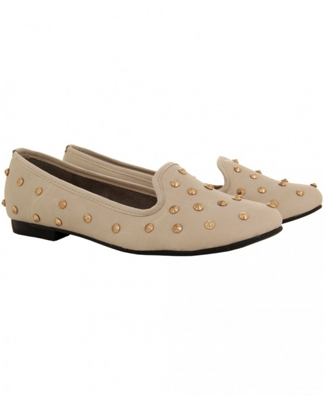 KRISP Soft PU Metal Studded Nude Loafer Shoes