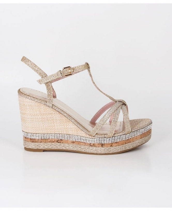 KRISP Sparkly T-Bar Platform Wedges