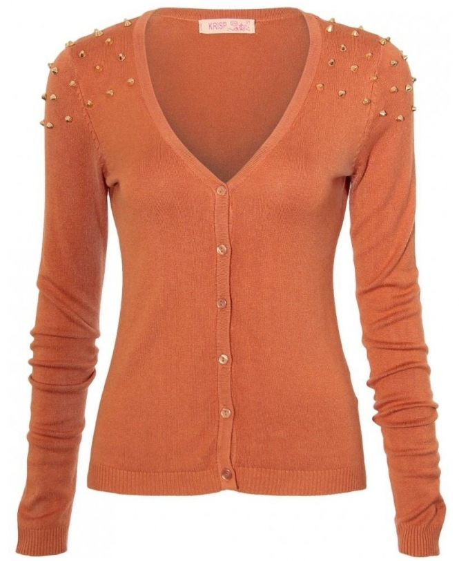 KRISP Spike Stud Shoulder Fine Knit Orange Cardigan - WOMENS from ...