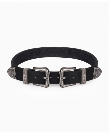 Square Double Buckle Western Belt