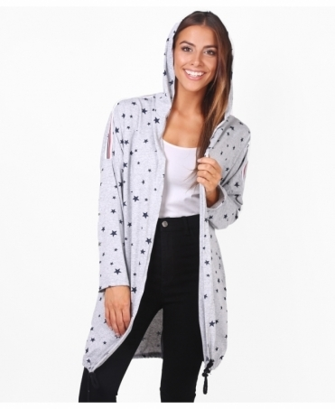 Star Print Hooded Jersey Jacket