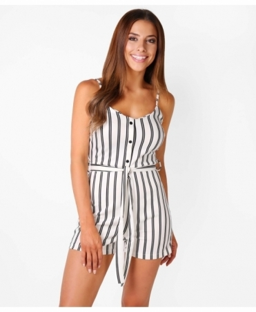 Strappy Belted Pinstripe Playsuit