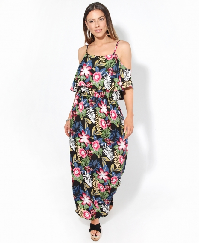 KRISP Strappy Off Shoulder Tropical Maxi Dress