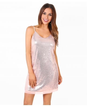 Strappy Sequin Swing Tunic Dress