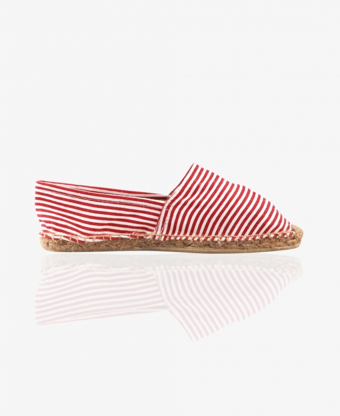 KRISP Striped Canvas Flat Espadrilles