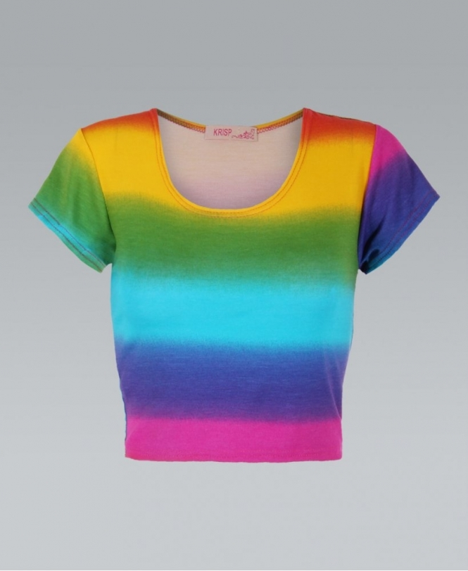 49842ca16010e KRISP Striped Rainbow Tie Dye Cropped Top - Womens from Krisp ...