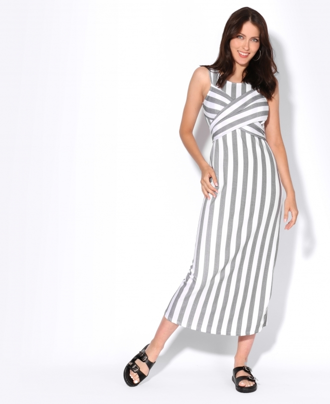 KRISP Striped Wrap Over Front Dress