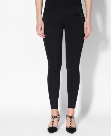 Stud Front Elasticated Waist Trousers