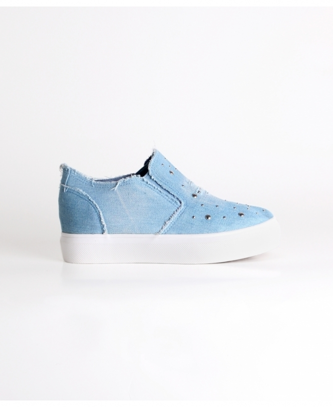 KRISP Studded Denim Plimsoll Trainers