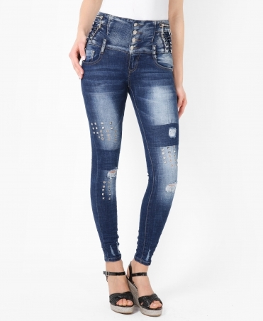 Studded High Waisted Skinny Jeans