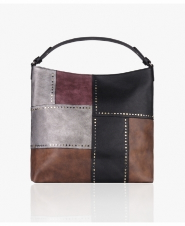 Studded Patchwork PU Shopper Bag