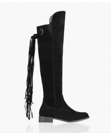 Suede Tassel Back Knee High Boots
