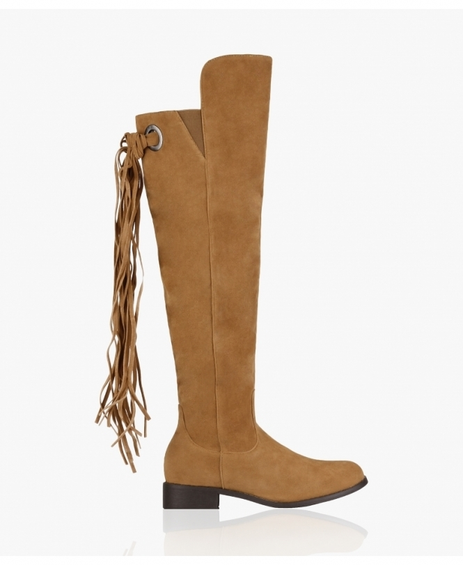 KRISP Suede Tassel Back Knee High Boots