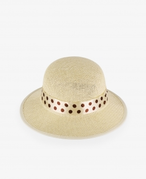 KRISP Sun Hat with Polka Dot Ribbon