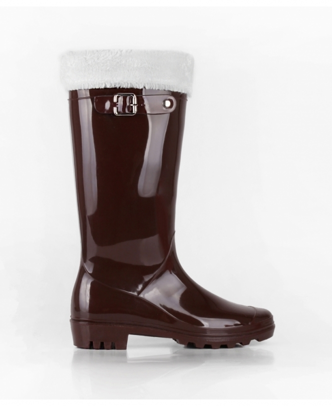 KRISP Tall Patent Wellies with Winter Sock