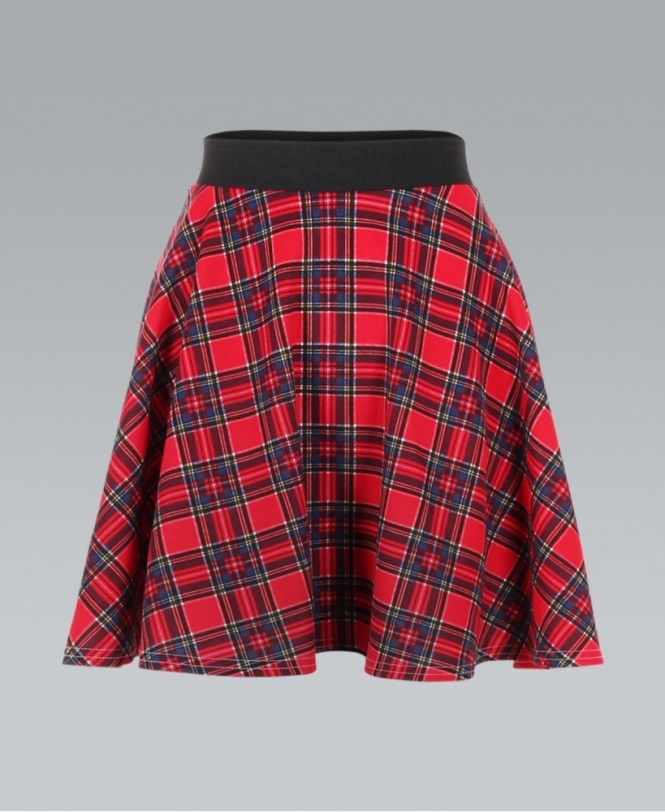 0ea91b7d KRISP Tartan Print High Waist Red Skater Skirt