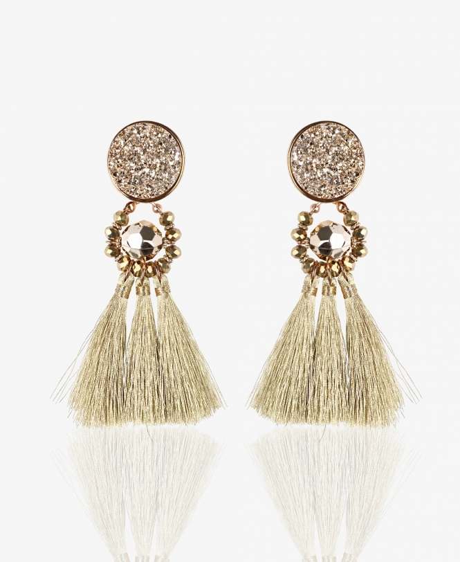 KRISP Tassel Earrings with Glitter Top