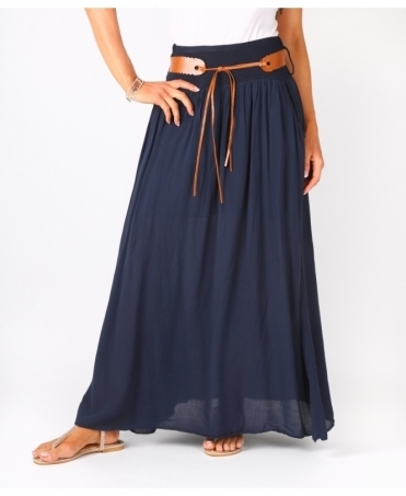 Tie Belted Boho Maxi Skirt