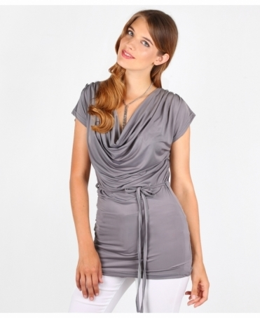 Tie Belted Cowl Front Top