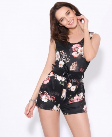 Tie Belted Floral Playsuit