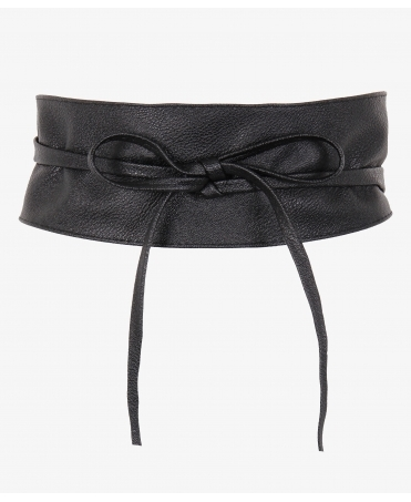 Tie Round PU Leather Waist Cinch Belt