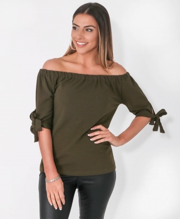 f88f02f8b6f5d Tie Sleeve Off Shoulder Top