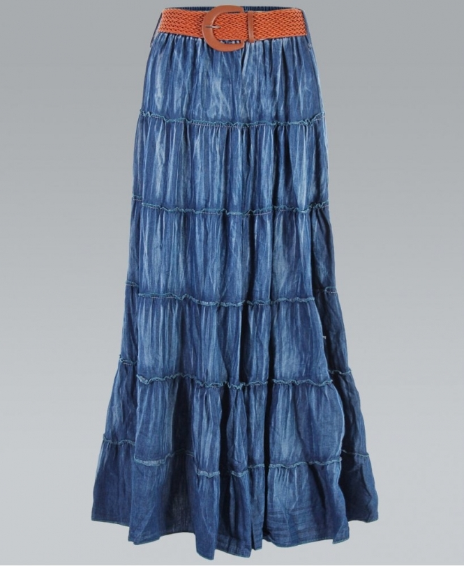 dae7ff8977 KRISP Tiered Blue Denim Style Belted Boho Maxi Skirt - Womens from ...