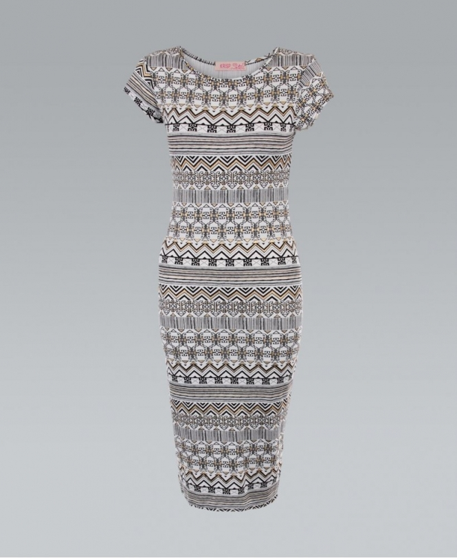 a15c93f89df3 KRISP Tribal Gold Foil Print White Bodycon Midi Dress