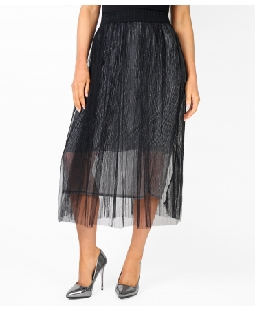 Tulle & Lurex Midi Skirt