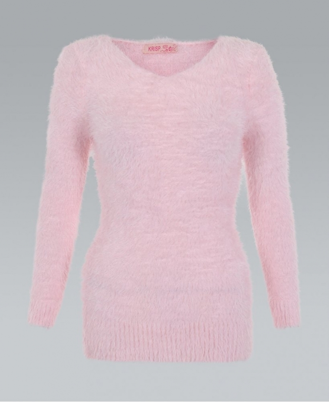 KRISP V-Neck Baby Pink Fluffy Jumper - NEW IN from Krisp Clothing UK