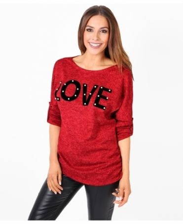 Velvet 'LOVE' Pearl Studded Jumper