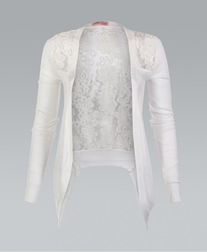 7cabc1fef60c KRISP White Lace Back Fine Knitted Cardigan