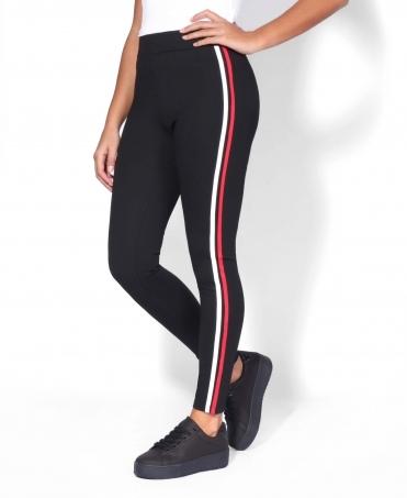 211608cf22274 White & Red Side-Stripe Leggings