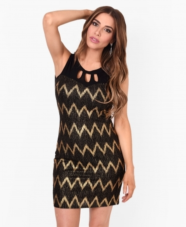 Zig-Zag Foil Print Tunic Dress